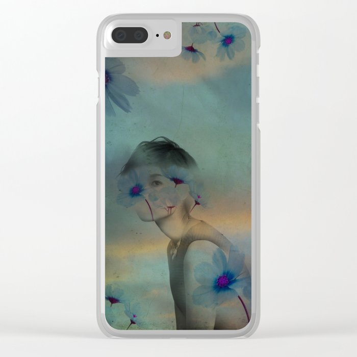 Woman hidden in a world of flowers Clear iPhone Case