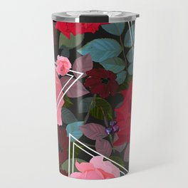 Triangles With Vintage Red Pink Roses and Chocolate Cosmos Flower Pattern Travel Mug