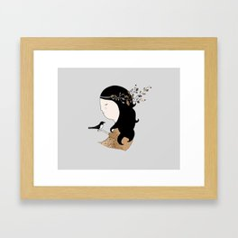 Girl with magpie Framed Art Print