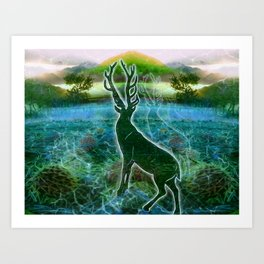Garden of the Glitch Valley Stag Art Print