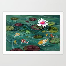 Frog and Koi Friends Art Print