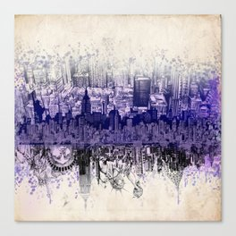 New York skyline drawing collage 2 Canvas Print
