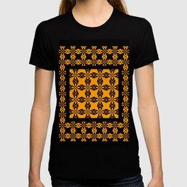 African Ethnic Pattern Black and Orange T-shirt
