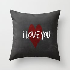 Valentines I love you Chalkboard Design Throw Pillow