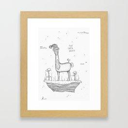 Flat Earth Society - Banana Llama Framed Art Print