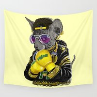 hiphop Wall Tapestries featuring Boxing Cat 3 by Tummeow