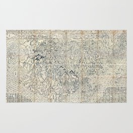 First Japanese Buddhist World Map showing Europe, America and Africa - print from 1710 Rug