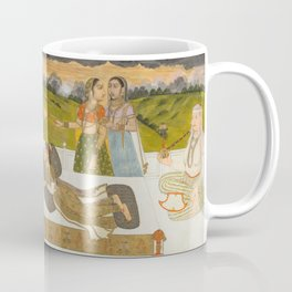 A Princess Reclining on a Terrace with Attendants - 18th Century Classical Indian Art Coffee Mug