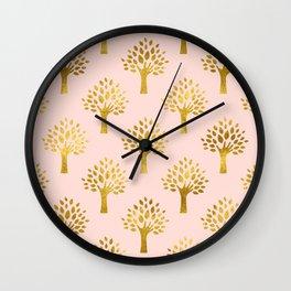 Pink Gold Foil 02 Wall Clock