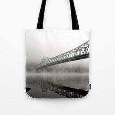 Foggy Morning Bridge Tote Bag