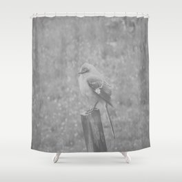 The Bird Light Black and White Shower Curtain