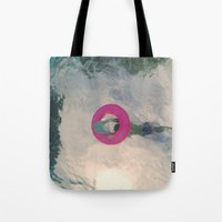 diver Tote Bags featuring diver by signe constable