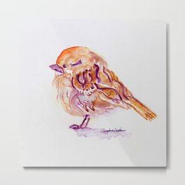 Little Purple Brown Sparrow watercolor by CheyAnne Sexton Metal Print