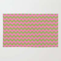 preppy Area & Throw Rugs featuring Preppy Pink and Green Chevron by Jozane House