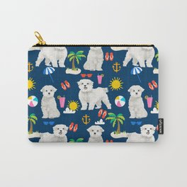 Maltese beach summer dog breed cute gifts for maltese owner beaches Carry-All Pouch