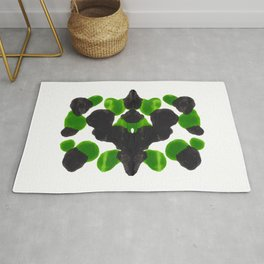 Lime Green & Black Ink Blot Pattern Rug