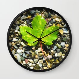 Green maple leaves Wall Clock