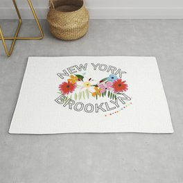 ''New York, Brooklyn'' text with exotic summer flowers Rug