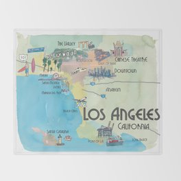 Greater Los Angeles Fine Art Print Retro Vintage Map with Touristic Highlights in colorful retro pri Throw Blanket