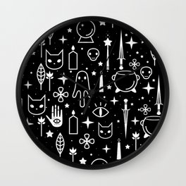 Spirit Symbols Black Wall Clock