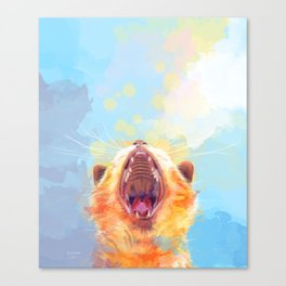 Rise and Shine, Kitty - colorful cat illustration Canvas Print