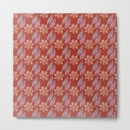 Flowers and Leaves (Red) Metal Print