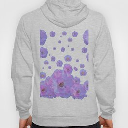 PALE BLUISH-PINK ROSE GARDEN ABSTRACT FLORAL Hoody