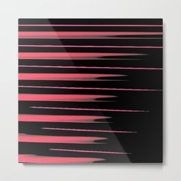 Red and Pink Stretched Lines w/Black Background Metal Print