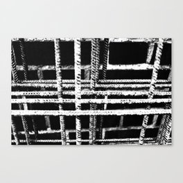 Rebar And Brick - Industrial Abstract Canvas Print