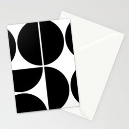 Mid Century Modern Black Square Stationery Cards