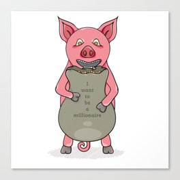 pig and bag with gold coins Canvas Print