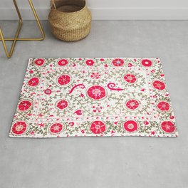 Whimsical Wildflower Red I // 19th Century Colorful Fuchsia Green Ornate Watercolor Pattern Rug