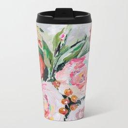 Boho pink and orange floral bouquet Metal Travel Mug