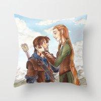 kili Throw Pillows featuring Kili and Tauriel by CaptBexx
