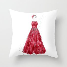 Fashion illustration red long gown Throw Pillow