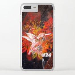 Hummingbird and flower graffiti Clear iPhone Case