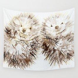Hedgehog Cuddles Wall Tapestry