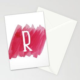 Letter R Pink Watercolor Stationery Cards