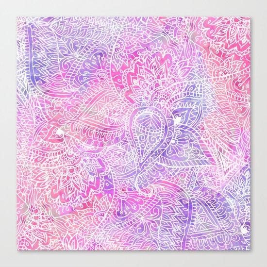 Pink Purple Paisley Love Canvas Print