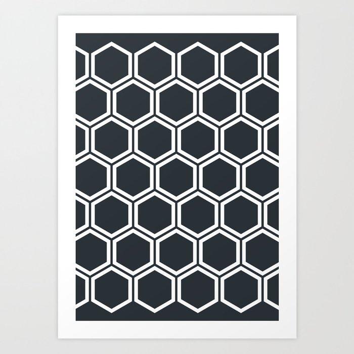 Hexagon Black Kunstdrucke