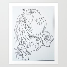 crow tattoo outline Art Print