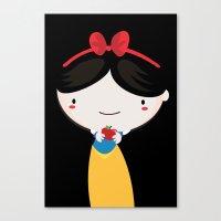 snow white Canvas Prints featuring Snow white by Maria Jose Da Luz