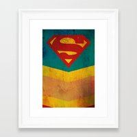 supergirl Framed Art Prints featuring Supergirl by Fries Frame
