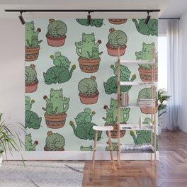 Cacti Cat pattern Wall Mural