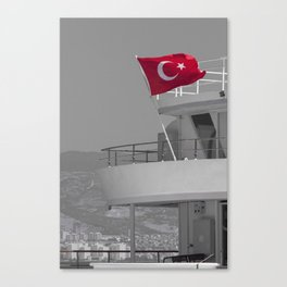 Boat with turkish flag Canvas Print