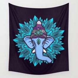 Wise Elephant Ganesha Mandala Wall Tapestry