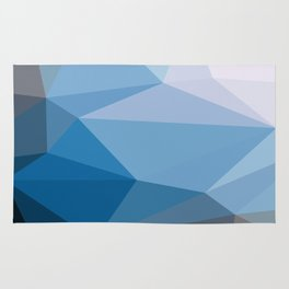 Shades Of Blue Triangle Abstract Rug
