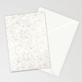 Elegant simple modern faux gold white floral Stationery Cards