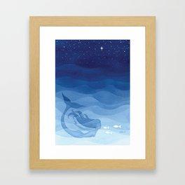Mermaid, watercolor, blue, fish Framed Art Print