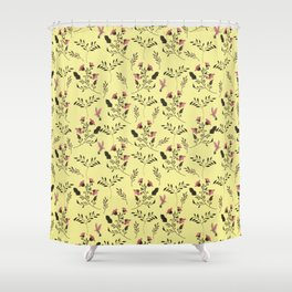Rose Hummingbirds and Pink Flowers in Butter Yellow Floral Pattern with Pink Flowers and Bark Brown Shower Curtain